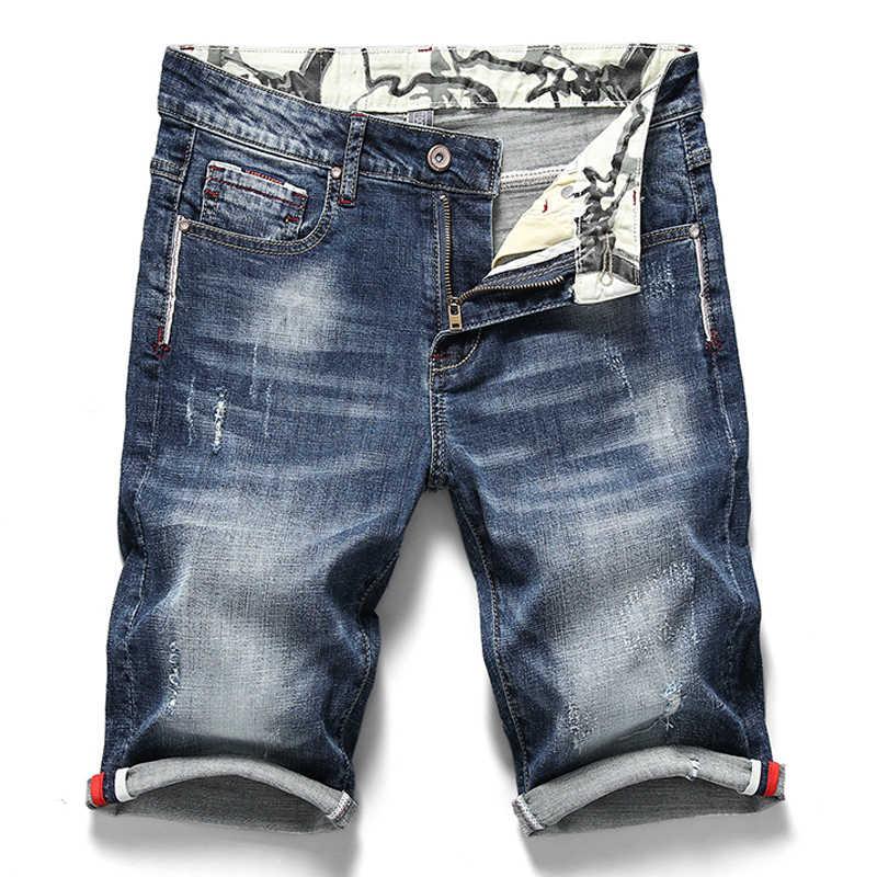 2020 yaz yeni erkek streç kısa kot pantolon moda Casual Slim Fit yüksek kaliteli elastik kot şort erkek marka giyim