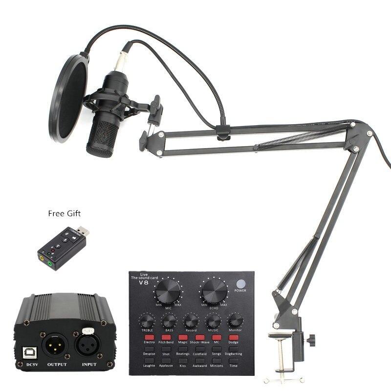 BM 800 Professionnel Microphone À Condensateur bm800 enregistrement Audio Chant pour Ordinateur karaoké alimentation Fantôme pop filtre carte Son