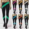 Fashion 9100 sexy girl women 8 colors stripe ribbon streamer 3D prints workout elastic fitness Women leggings pants