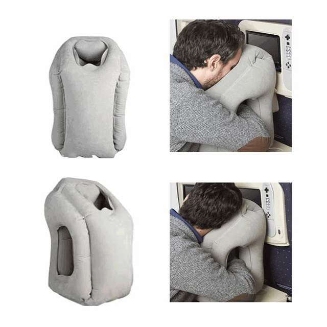 Free Shipping 4 Colors Inflatable Travel Pillow Cushion Innovative Airplane Pillows Neck Pillow Travel Chin Head Support