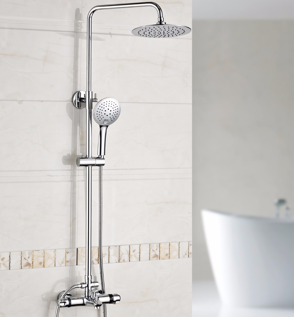 Xogolo Bathroom Thermostatic 8 Round Rain Shower Set, Wall Mount, Ultra-thin Tub Tap + 3 Model Hand Spray, Polished Chrome