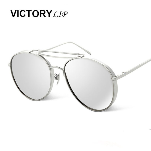 978bb112e4 VictoryLip Oversized Sunglasses Men Flat Top twin-bridge Luxury Women Brand  Designer Cool Point UV400 Mirror Sun Glasses Male