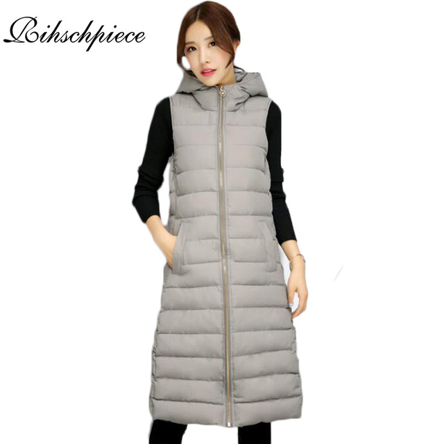Rihschpiece Long Vest Women Down Coats Winter Jacket Parka Pocket Waistcoat Hooded Top Sleeveless Vests RZF875
