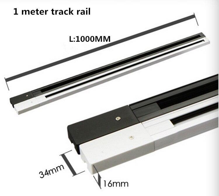 Универсальный 2 провода рельсы точечные светильники светодиодный Трек освещение фитинг черный белый 1 фаза алюминиевые рельсы 2 линии общие рельсы - Испускаемый цвет: 1 Meter track rail