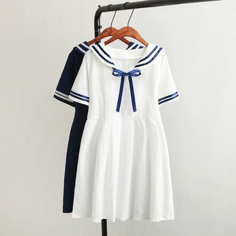 WXCTEAM Summer New Women Japanese Sen female line navy wind bow College Wind sweet short-sleeved dress for girls