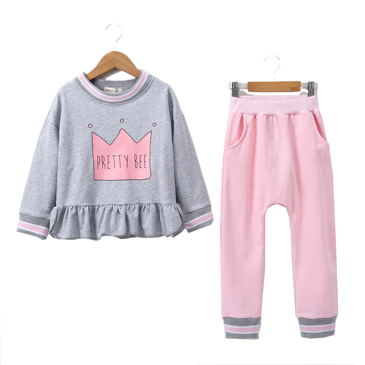 Girls Clothing Sets 2018spring  Autumn  Children Girls Clothes T-shirt+Pants  Kids  Outfits Girls Sport Suit 2016 new spring autumn children boys girls clothing sets clothes star tops t shirt leggings pants baby kids 2 pcs suit