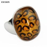 Più nuovo superiore di lusso dell'acciaio inossidabile lucidatura piazza leopard spots donne anello trasparente rotondo orange crystal anelli
