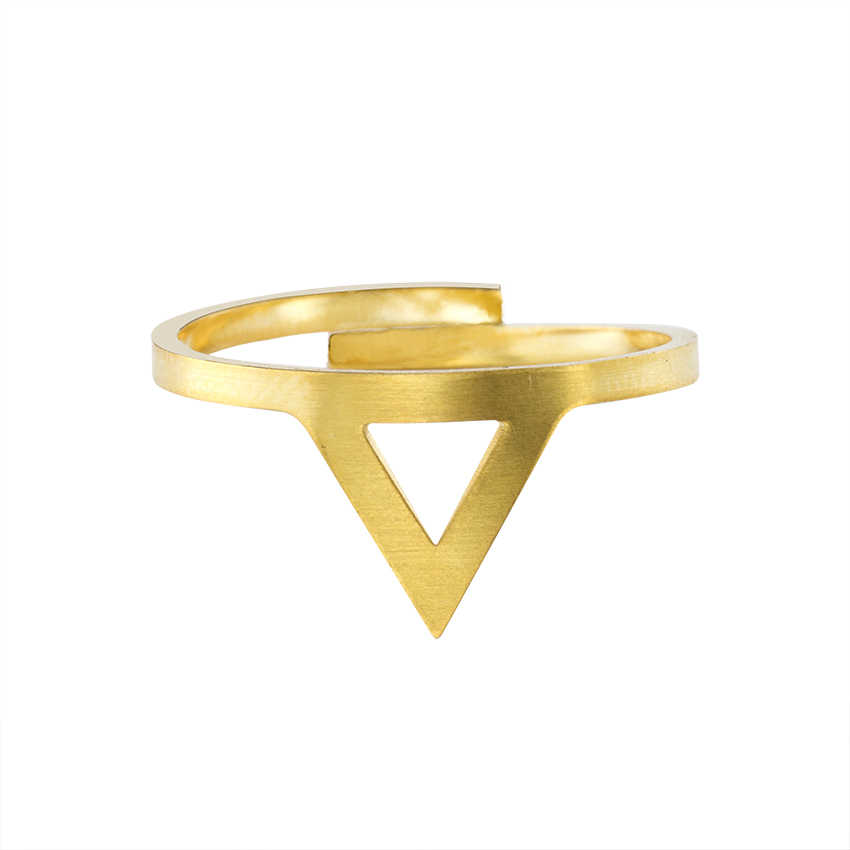 GORGEOUS TALE Famous Brand Jewelry Vintage Triangle Rings For Women Wedding Gift Delicate Gold Color Stainless Steel Bague