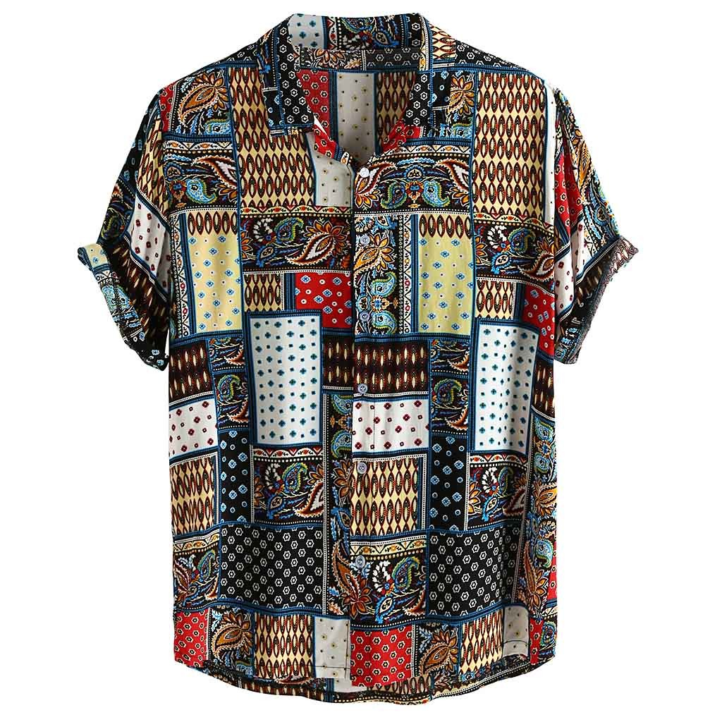 Womail Vintage Ethnic Style <font><b>Men</b></font> <font><b>Shirt</b></font> Printing Loose Cotton <font><b>Short</b></font> <font><b>Sleeve</b></font> Stand Collar Breathable Tops Hawaiian <font><b>Shirts</b></font> 2019 New image