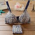 Roupa interior Das Mulheres Bralette Push Up Conjunto de Sutiã Sutiã e Calcinha Sem Costura para As Mulheres Conjunto de sutiã flor