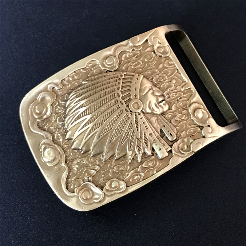 Indian Chief Belt Buckle Solid Brass Cowboy Belt Diy Accessories Men Belts Buckles Luxury Male Jeans Strap Buckle Belt BK0068