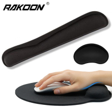RAKOON Wrist Rest Mouse Pad with Gel Non-Slip Base Wrist Rest Pad Ergonomic Mousepad for Typist Office Gaming PC Laptop premium new office lycra cloth mousepad with gel wrist support ergonomic gaming desktop mouse pad wrist rest