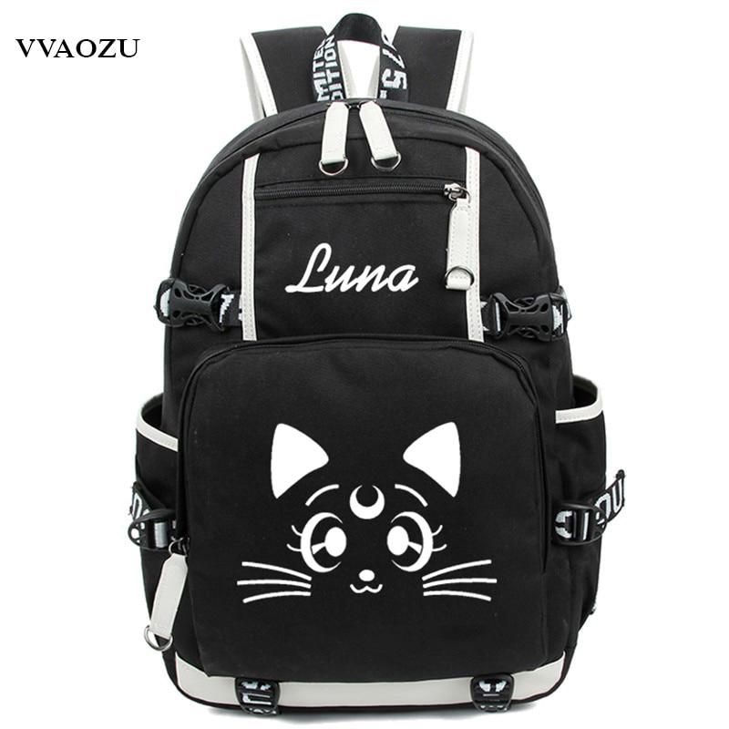 Harajuku Sailor Moon Luminous Luna Cosplay Backpack Rucksack Women Men Japan Anime Laptop Schoolbag Mochila Bookbag