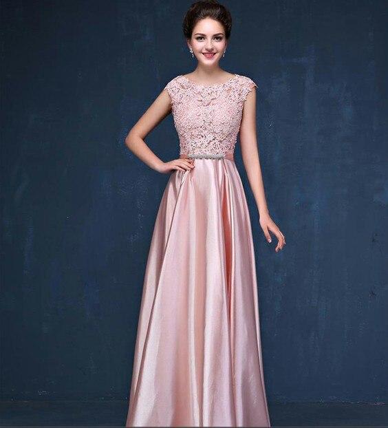 Элегантное вечернее платье с длинным аппликации платье для банкета, вечеринки Потрясающие сатиновое платье для выпускного вечера; Robe De Soiree vestido de festa - Цвет: Розовый