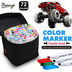 Bianyo 72Color Dual Tip Sketch Marker Set Alcohol-Based Sketch Manga Markers for Artist Drawing Marker Design Art Supplies