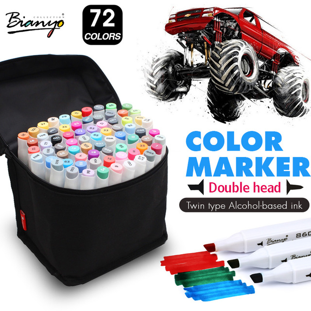 bianyo 72color dual tip sketch marker set alcohol based sketch manga markers for artist drawing