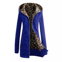 2017 Women Slim Hoodies Women Autumn Winter Long Hooded Jackets Leopard Overcoat Warm Fleece Hoodies Plus