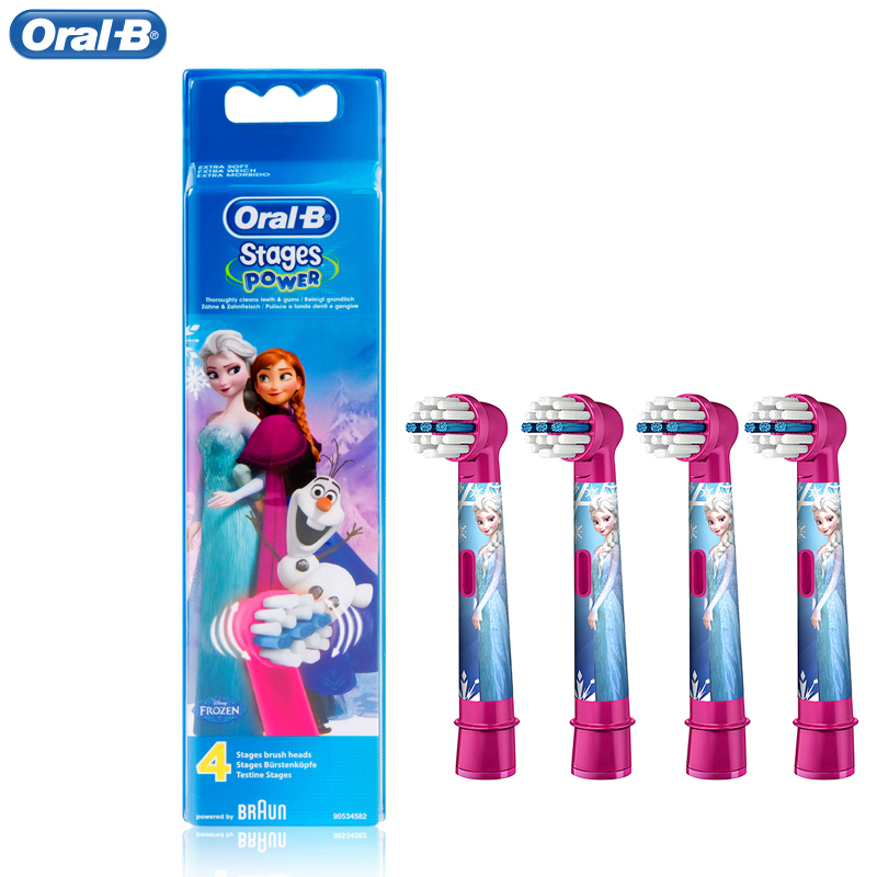 Oral B Children Electric Toothbrush Heads EB10-4 (for D10 D12 DB4510K) Round Brush Tooth Heads 4 hedas for 3+ 1pack eb 25a model replacement electric toothbrush head eb25 cleaning tool fit for braun oral b tooth brush heads