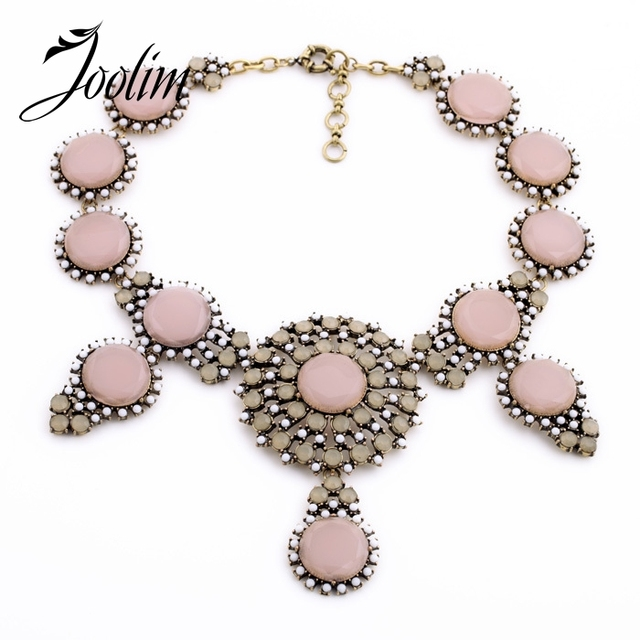 JOOLIM Jewelry Wholesale/2014 Vintage Pink Black Statement Collar Necklace Women Necklace