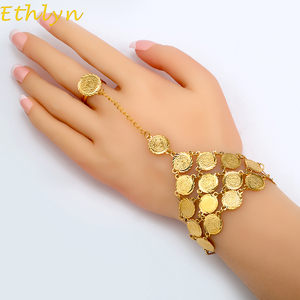 Image 1 - Ethlyn Coins Bracelet for Women Islam Muslim Arab Coin Money Sign Gold Color Middle Eastern Jewelry Bangle Metal Coin B017