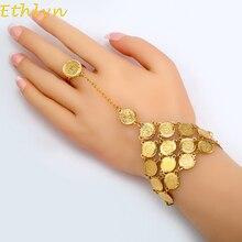 Pulseira de moedas etlyn para mulheres, bracelete de moedas musulas, dinheiro, ouro, joia do leste médio, moeda de metal b017