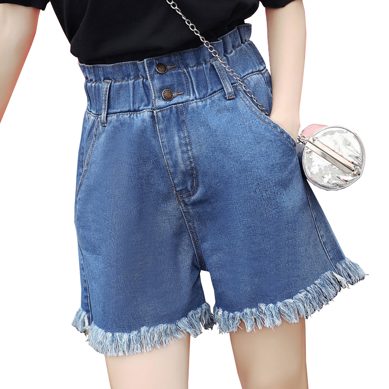 EXOTAO Vintage Women Denim   Shorts   2017 Summer Solid Color High Waist Tassels Jeans Pantalones Loose   Short   Pants Elastic Waist