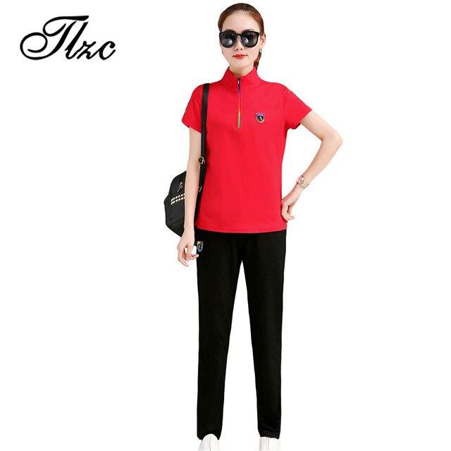 e74dfcef314 TLZC Womens Tracksuit Fashion Polo Shirts Long Pants Suits Plus Size M-4XL 2  Pieces Set Female Cotton Casual Set Summer Outfits