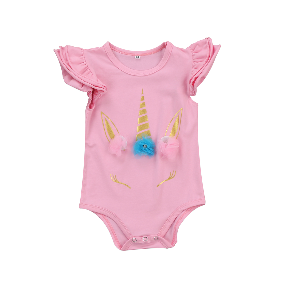 Unicorn Printed Infant Baby Girls Romper Floral Sunsuit Summer Clothes Outfits