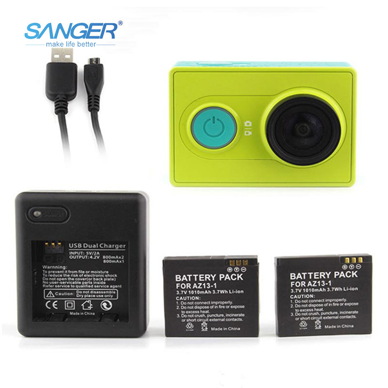 SANGER Dual USB Charger For Xiaomi Xiao Yi Sports Action Camera 1010mAh Battery Charger For Xiaomi Yi Camera Accessories
