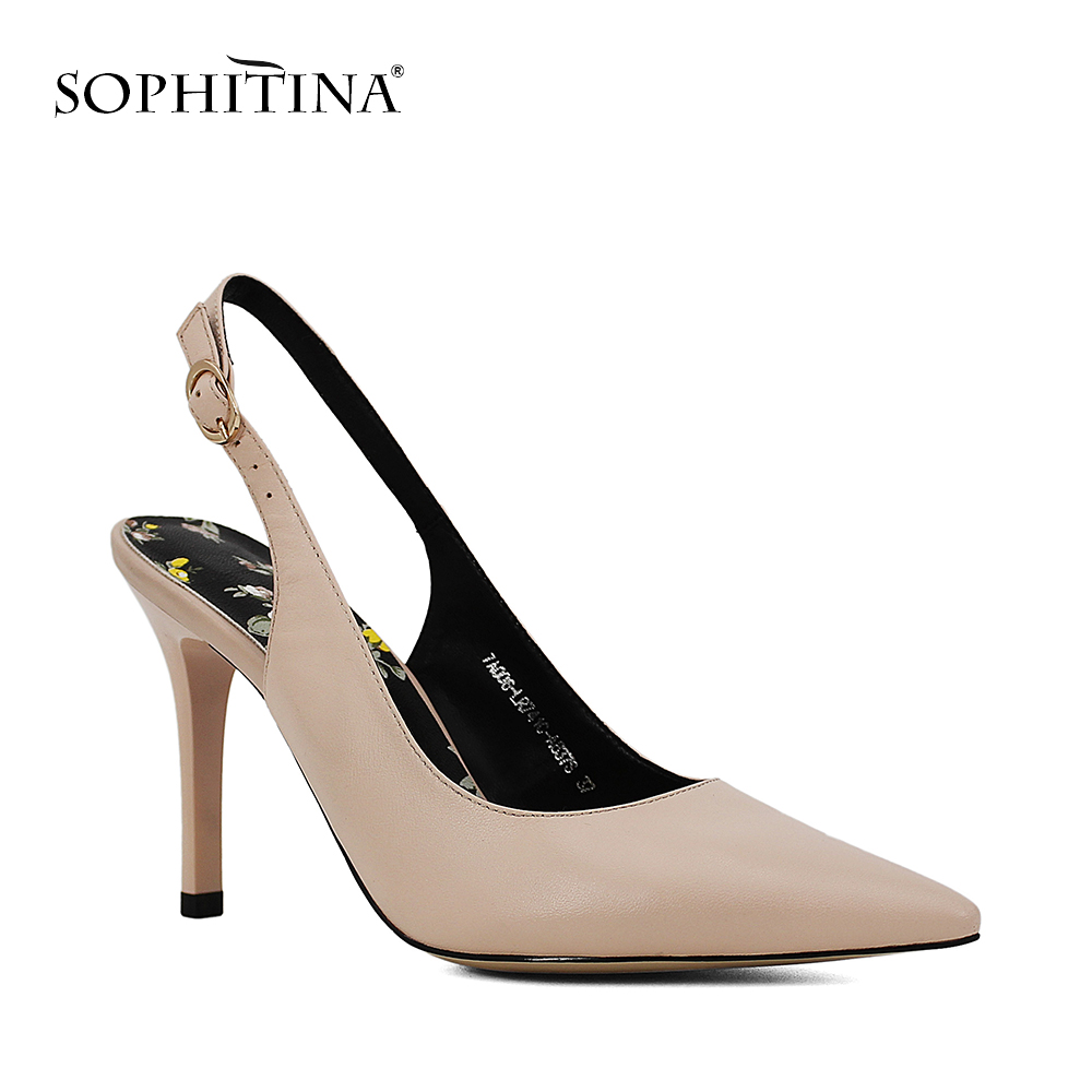 SOPHITINA Brand Shoes Sheepskin Pointed Toe Ladies Sandals Super High Heel Sexy Thin heels Buckle Strap wedding Women Shoes S04 super high heels ladies sexy elegant platform sandals buckle strap open toe cover heel stilettos thin pumps party wedding shoes