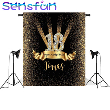 Sxy1372 vinil preto e ouro bokeh diamante 18th aniversário personalizado foto estúdio pano de fundo 220cm x 150cm