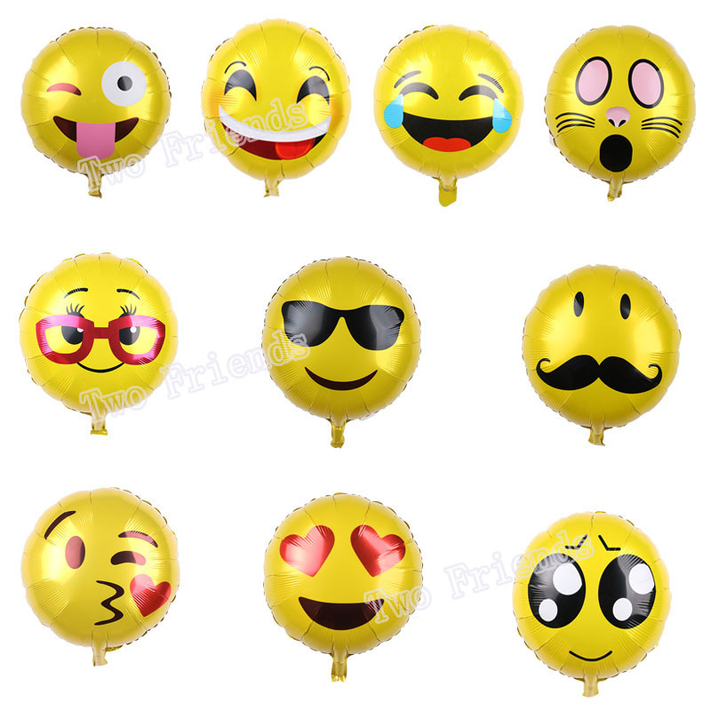 1PC 18inch emoji foil balloons wedding party decorations air ballon smiley face expression globos birthday party supplies toys