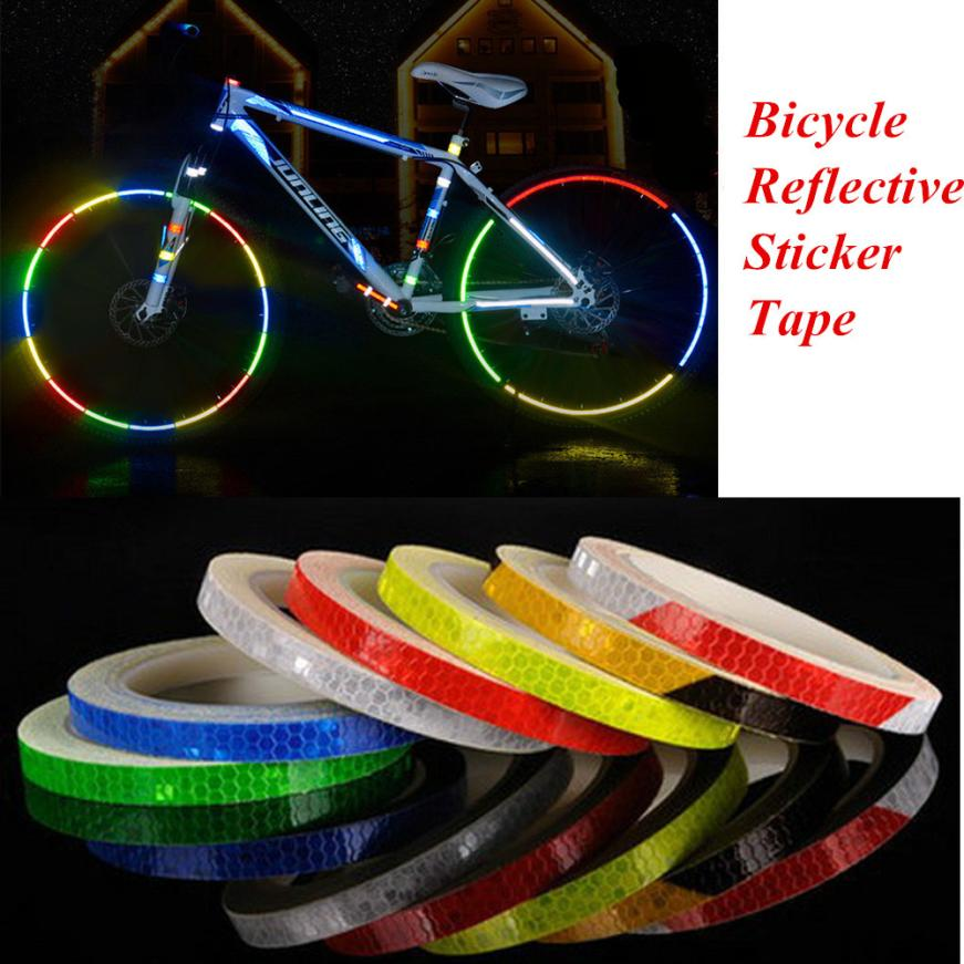 Fluorescent  Reflective Stickers Bicycle Car Motorcycle  Wheel Rim Decal