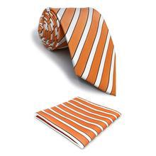 F26 Orange White Striped Tie Necktie Set Xlong Business Silk