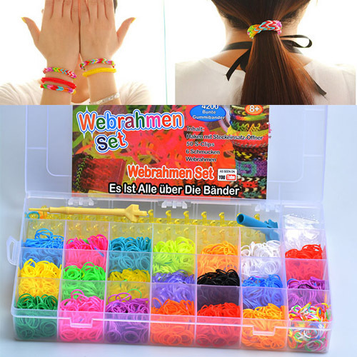 Silicone Bands Rubber Bracelets 2015 The Most Popular And Colorful Children's Toys DIY Loom Bracelets10000 Colorful Rubber Bands