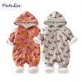 2016 Top Baby cartoon fleece snowsuit with hat newborn baby girl boy clothes cotton snowsuit for boys winter coats and jackets