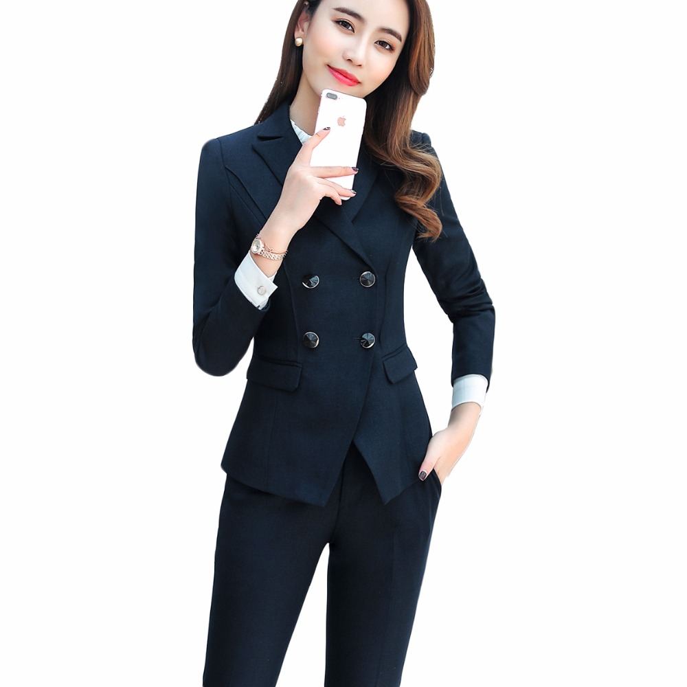 2018 New women pants suits elegant Business slim full sleeve blazer with pants office Interview plus
