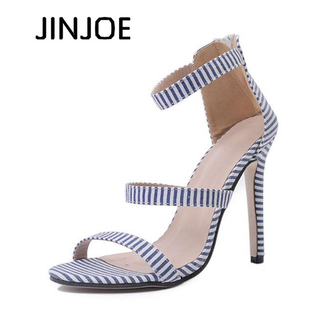 4324ea986 JINJOE mulher sapatos Simples sapatos de salto alto salto Alto estilo Naval  dos dedos dos pés