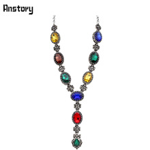 Fashion Jewelry Antique Silver Plated Multicolor Princess Cut Glass Crystal Flower Pendant Necklace TN253