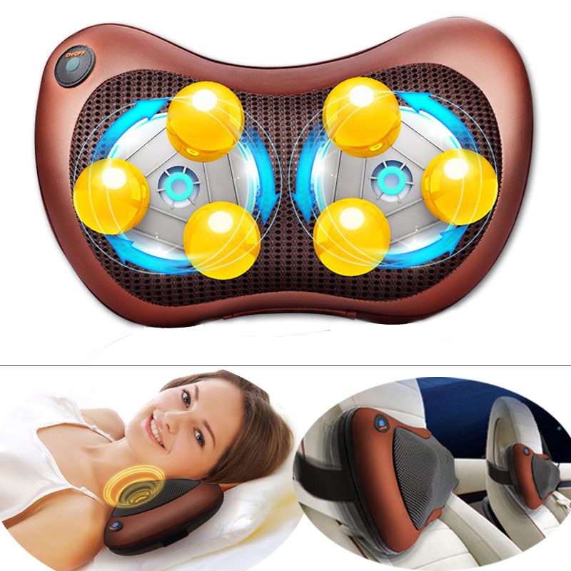 Vehicle Massage Seat Pad Pillow Neck Shoulder Waist Cervical Vertebra Massager Vibrator Electric Lumbar Massage Cushion automobile interior decorations car massage electric waist cushion magnetic vibrating massage lumbar protective hot sale