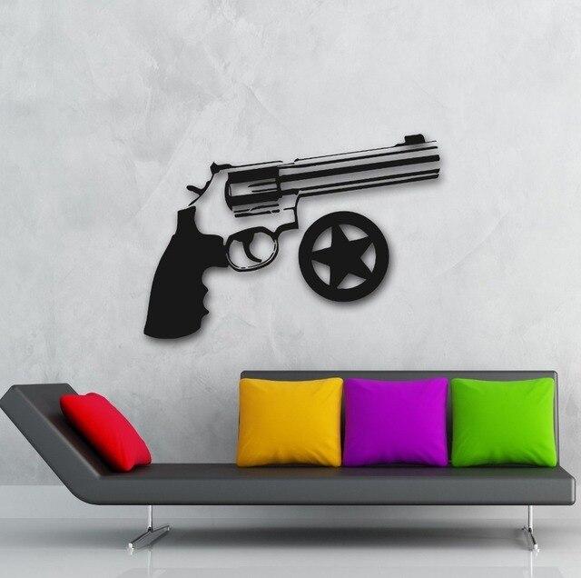Free Shiping Revolver Gun Sheriff Star Police Wall Decal Sticker Home Decor Wallpaper
