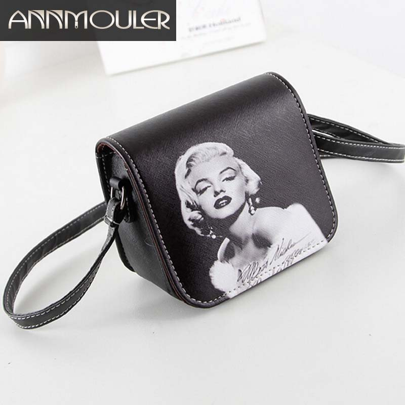 Jauns modes sieviešu ādas soma Marilyn Monroe drukāts mazs plecu soma meitenēm PU ādas soma nakts tālruņa Crossbody soma dāvanas