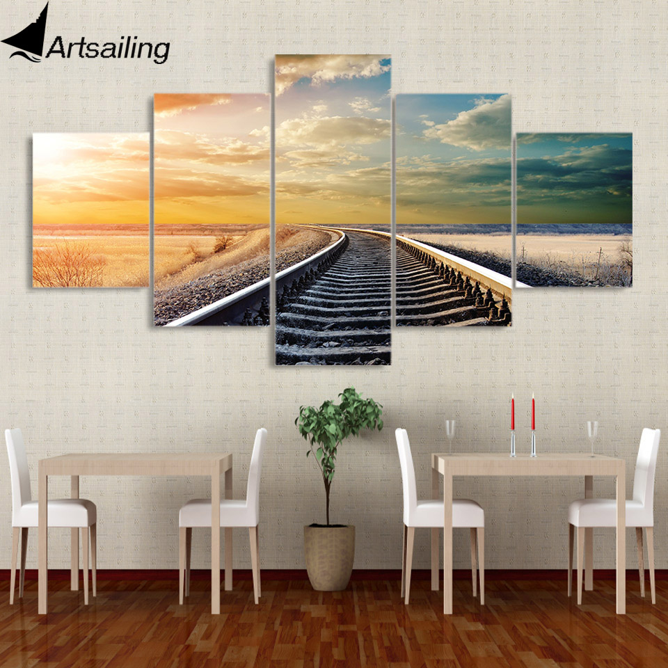 5 piece canvas painting railway across the vast plains posters and prints canvas painting for living room free shipping XA-2151B