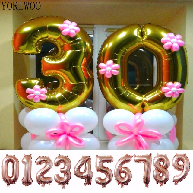 YORIWOO 40 Inches Rose Gold Silver Number Foil Balloons Digit Helium Wedding Happy Birthday Party Supplies Baby Shower