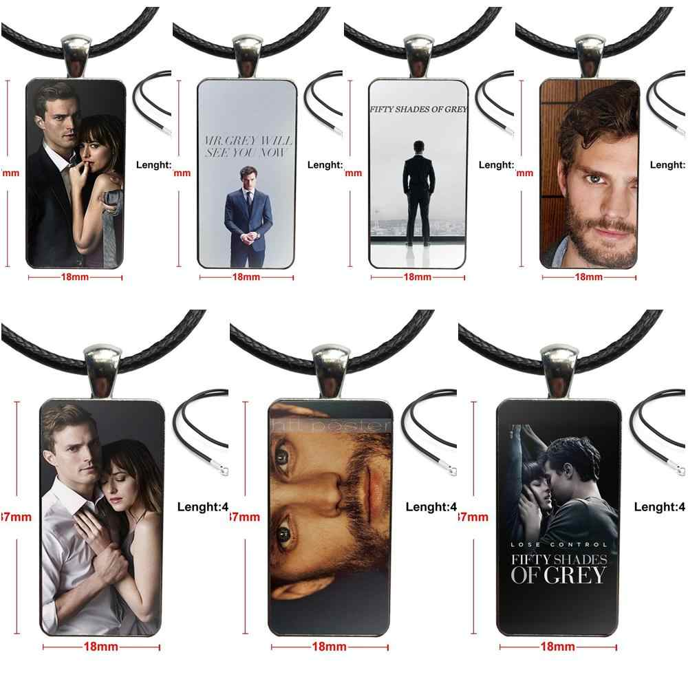 Jamie Dornan Fifty Shades Of Grey Glass Pendant Necklace Handmade Half Pendant Rectangle Necklace For Valentine'S Day Gift