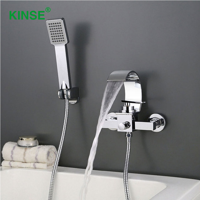 KINSE Hotsale Quality Contemporary Bathroom Faucet Brass Material Chrome  Finish Waterfall Bath Tub Faucet Mixer