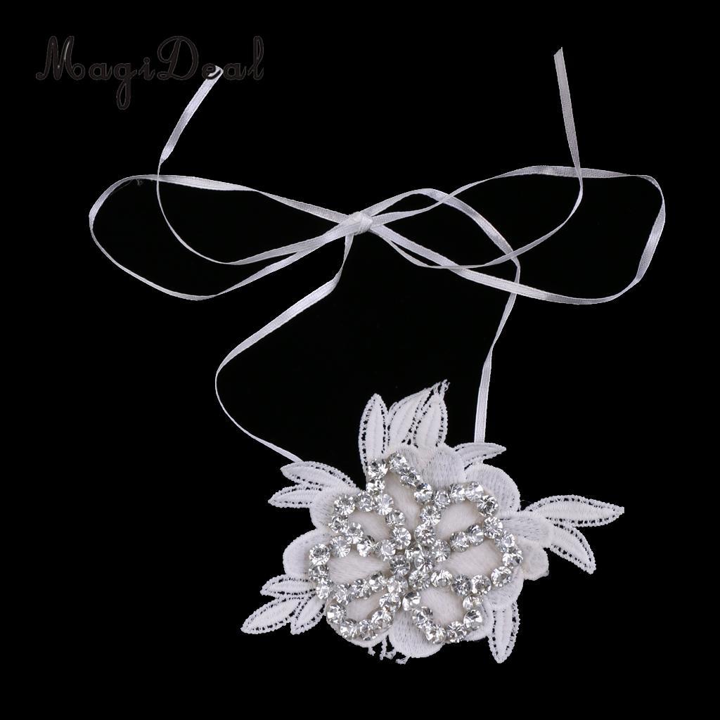 Crystal Applique Lace Wrist Corsage Band Bridal Bracelet Wedding Hand Flower