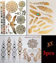 3PCS Body Paint Tattoo Taty Glitter Gold Tattoo Stickers Metal Temporary Flash Tattoos Arabic Henna Tattoo