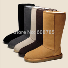 Hot! New 2014 Winter Women's Genuine Leather Cowhide Warm Snow Boots Female Rubber Outsole Flat Boots Shoes Free shipping B1278