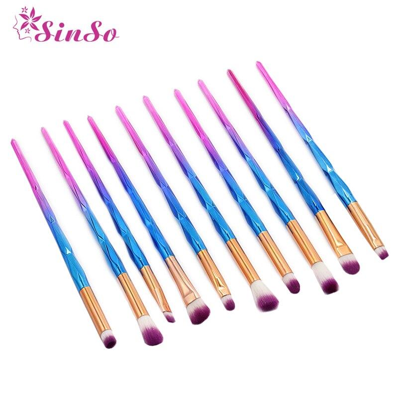 Sinso 10Pcs Makeup Brush Set High Quality For Face Foundation Blusher Powder Brush Kits Eyeliner Eyebrow Unicorn Make up Brush